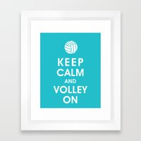 Keep Calm and Volley On (For the Love of Volley Ball) Framed Art Print