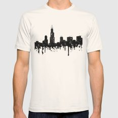 Watercolor Chicago Skyline Mens Fitted Tee Natural SMALL