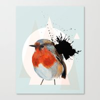 Canvas Print featuring Robin by Stroke a Bird