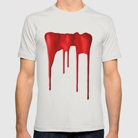 Red Splatter Mens Fitted Tee Silver SMALL