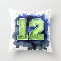 12th Man Seahawks Seattl… Throw Pillow