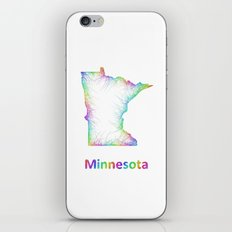 Rainbow Minnesota map iPhone & iPod Skin