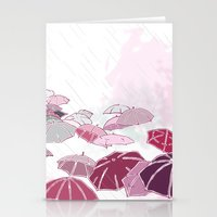 Rainy day in pink Stationery Cards