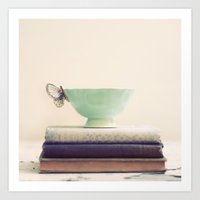 Tea & Books Art Print