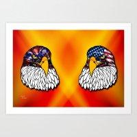 Confederate and Union Eagles Art Print