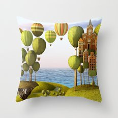 City in the Sky_Lanscape Format Throw Pillow