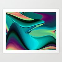 Futuristic, Abstract Rainbowart 6 Art Print