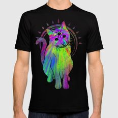 Psychedelic Psychic Cat Mens Fitted Tee SMALL Black