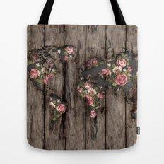 Wood Flowers Mapamundi Tote Bag
