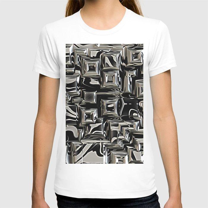 Black and silver metal art t shirt by mehrfarbeimleben for Silver metallic shirt women s