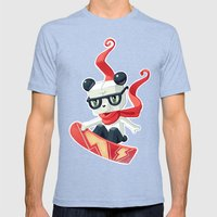 Snowboarding Mens Fitted Tee Tri-Blue SMALL