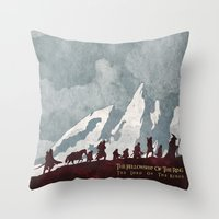 Throw Pillows featuring The fellowship of the ring by WatercolorGirlArt