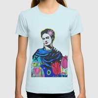 Frida Kahlo Womens Fitted Tee Light Blue SMALL