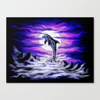 Moonlight-Dolphin Canvas Print