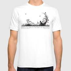 Secret Garden Black and White Illustrated Quote Mens Fitted Tee White SMALL