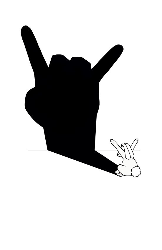 Rabbit Rock and Roll Hand Shadow Art Print