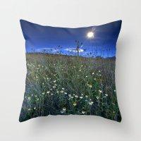Moonlight Over Daisies Throw Pillow