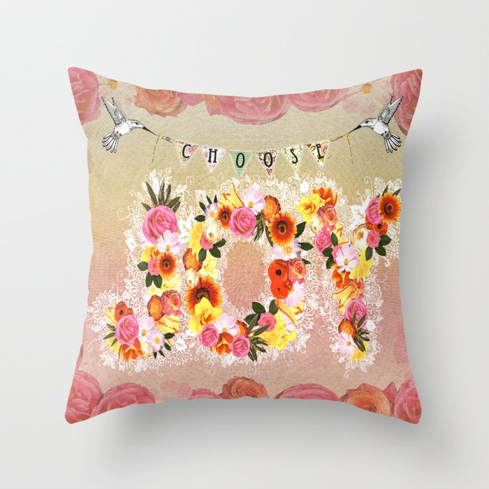 Choose Joy Throw Pillow by Jenndalyn Society6