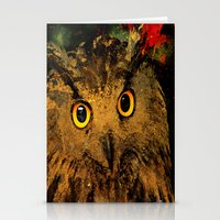 owls Stationery Cards featuring Owls by Ganech joe