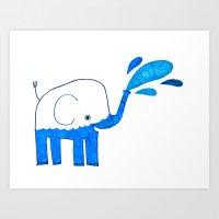 Half Empty Elephant Art Print