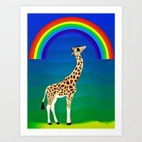 Giraffe With Swag Art Print