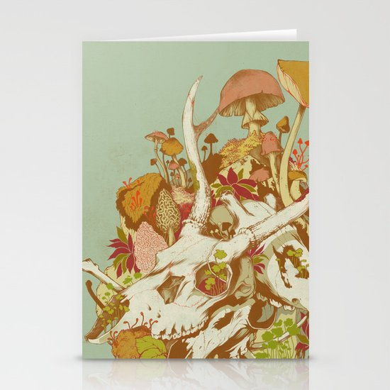 skulls in spring Stationery Card