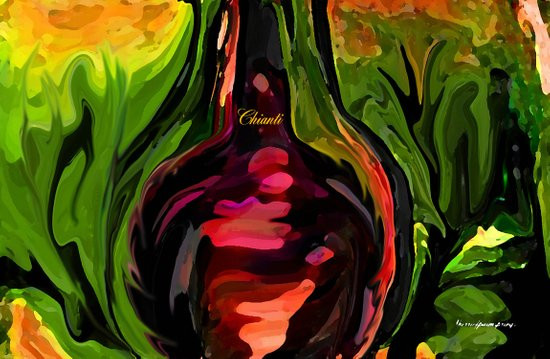 YOU ME AND CHIANTI IN THE GARDEN Art Print