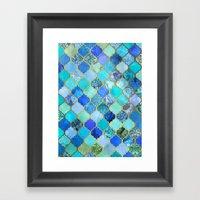 Cobalt Blue, Aqua & Gold… Framed Art Print