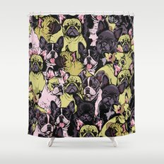Social French Bulldog Shower Curtain