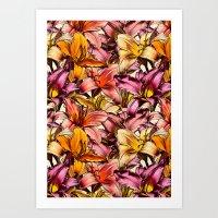 Daylily Drama - a floral illustration pattern Art Print