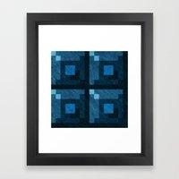 Blue Green Pixel Blocks Framed Art Print