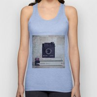 Vintage black camera and Joyce and Dracula books on Map pattern background  Unisex Tank Top