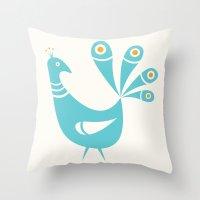 Mid Century Peacock Throw Pillow