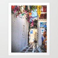 Tiffany Glass Style Gree… Art Print
