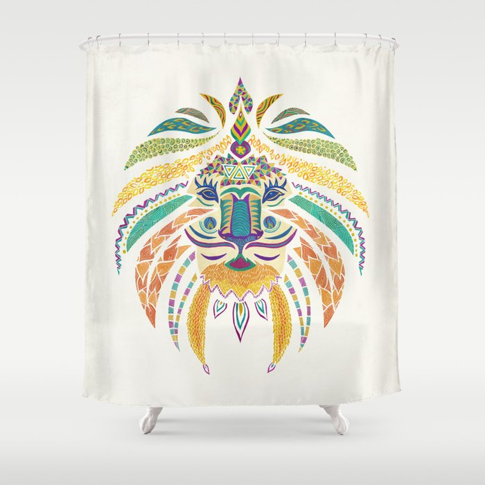 Whimsical Tribal Lion Shower Curtain By Pom Graphic Design Society6