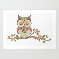 OWL -  kids wall art - owl theme nursery - woodland Art Print