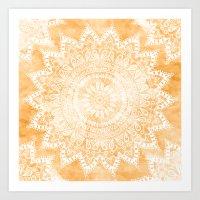TANGERINE BOHO FLOWER MA… Art Print