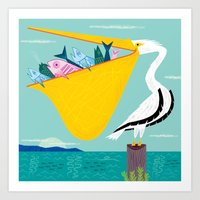 The Greedy Pelican Art Print