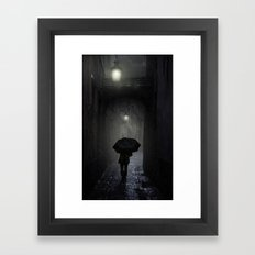 Night walk in the rain Framed Art Print