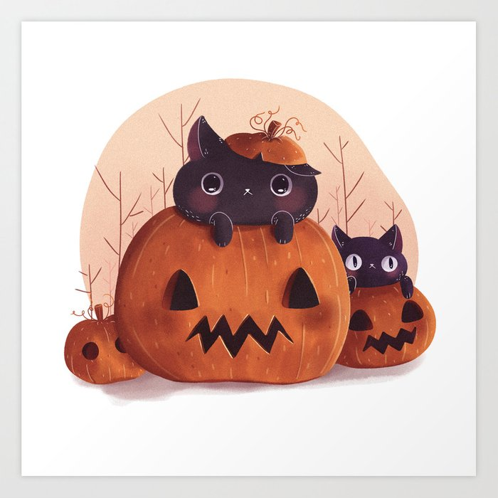 Sunday's Society6 | Painted pumpkin with kittens art print