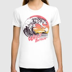 Wolf Beach Womens Fitted Tee White X-LARGE