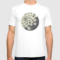 Black and White Queen Annes Lace Mens Fitted Tee White SMALL