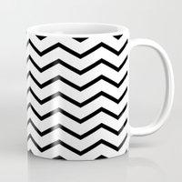 Black Chevron On White Mug