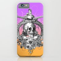 iPhone Cases featuring vintage, skull, rose, gun, engraving, pistol, girl, black and white, by Fancy Brand