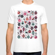Birds and Baubles  Mens Fitted Tee SMALL White