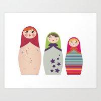 Russians Dolls Whoops !  Art Print