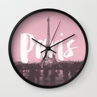 Pink Paris Eiffel Tower Wall Clock