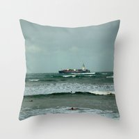 Leistering  Cargo Ship & Surfers Throw Pillow