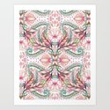 Lily, Leaf & Triangle Pattern – multi-color version Art Print