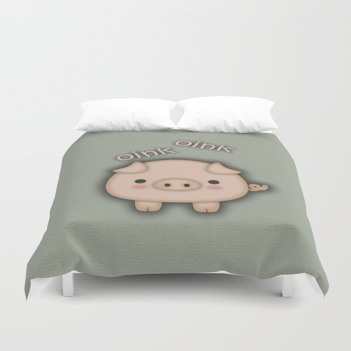 Cute Pink Pig Oink Duvet Cover By Tees2go Society6